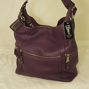 Tignanello Large Purple Hobo Handbag